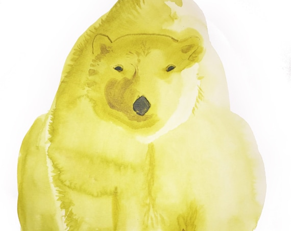 Original Watercolor painting of Chartreuse Polar Bear