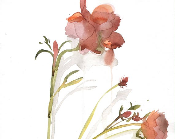 Watercolor flower painting-Rusty Ranunculus- original by Gretchen Kelly