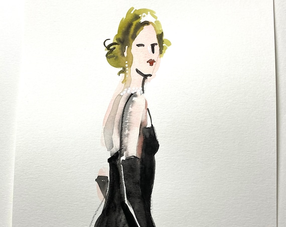 Original watercolor painting of Classic Woman with pearls