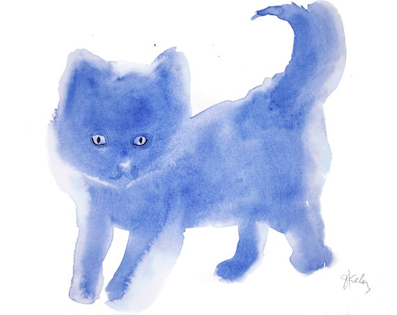 Original Watercolor painting of Blue Kittie