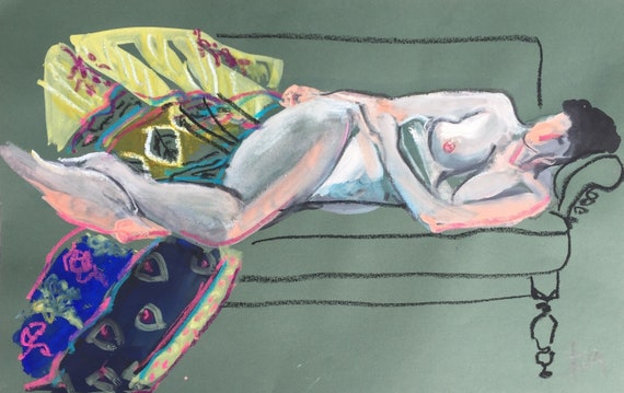 Nude watercolor painting #1600 -original  by Gretchen Kelly
