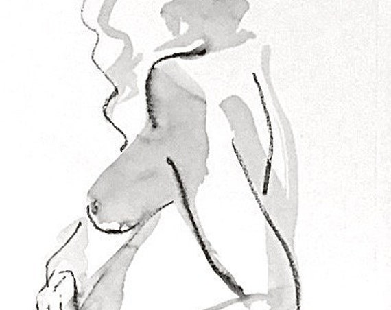 Nude painting of One minute pose 125.1 - Original nude painting by Gretchen Kelly