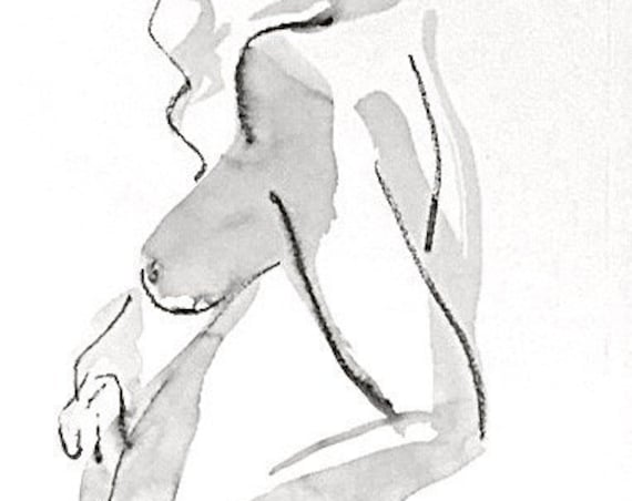 One Minute Pose 125.1 original painting of nude by Gretchen Kelly