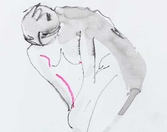 Nude painting- Original watercolor painting of One Minute Pose 119.5 by Gretchen Kelly