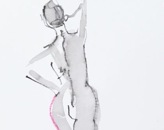 Nude painting- Original watercolor painting of One Minute Pose 119.7 by Gretchen Kelly
