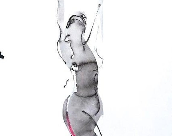 Nude painting- Original watercolor painting of One Minute Pose 119.6 by Gretchen Kelly