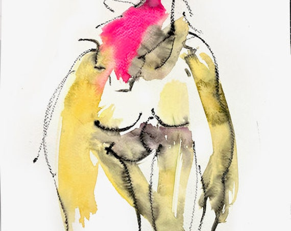 Original watercolor painting of Nude #1695, sketch by Gretchen Kelly