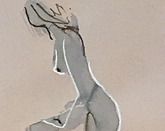 Nude painting of One minute pose 114.4 nude art, original, gesture sketch by Gretchen Kelly