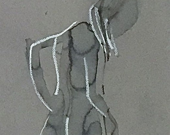 Nude painting of One minute pose 114.3 nude art, original, gesture sketch by Gretchen Kelly