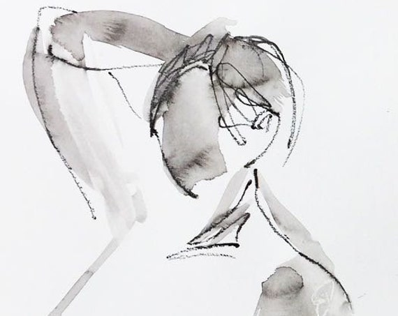 Nude painting- Original watercolor painting of One Minute Pose 119.4 by Gretchen Kelly