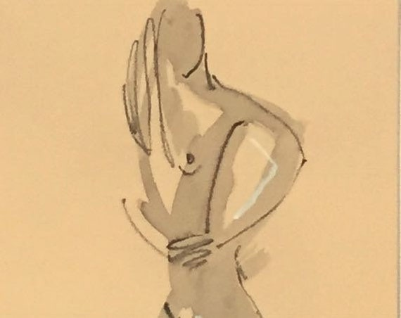 Nude painting of One minute pose 114.6 nude art, original, gesture sketch by Gretchen Kelly