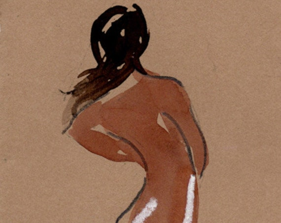 Watercolor graphite painting of MINI NUDE 74- original  by Gretchen Kelly