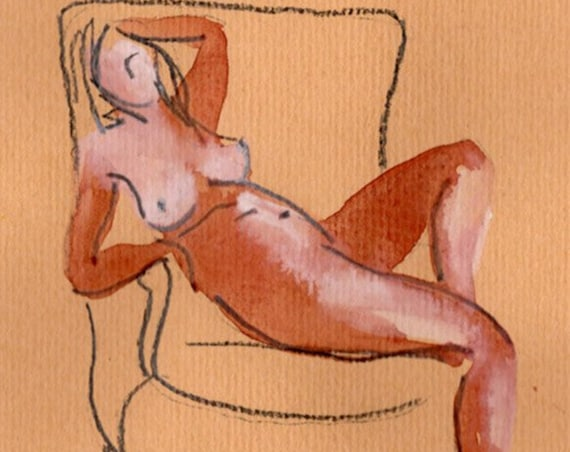 Watercolor graphite painting of MINI NUDE 69- original  by Gretchen Kelly
