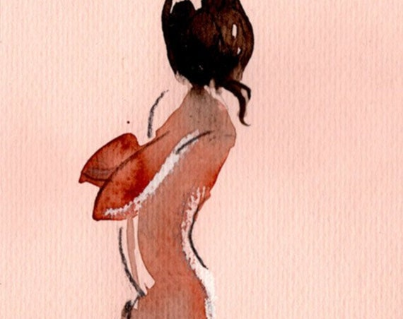 Watercolor graphite painting of MINI NUDE 68- original  by Gretchen Kelly
