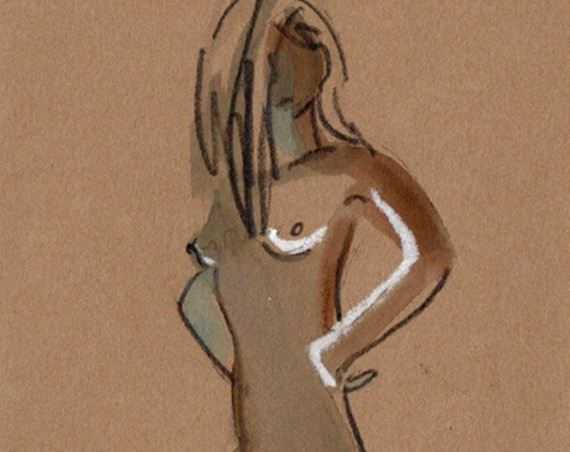 MINI NUDE 66- original watercolor painting by Gretchen Kelly