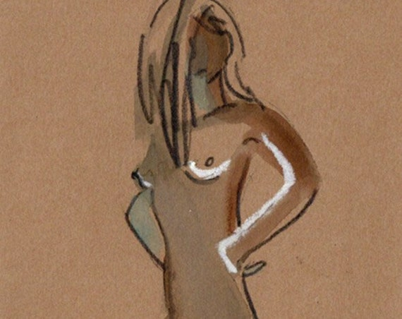 Watercolor graphite painting of MINI NUDE 66- original  by Gretchen Kelly