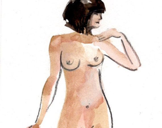 Watercolor graphite painting of MINI NUDE 70- original  by Gretchen Kelly