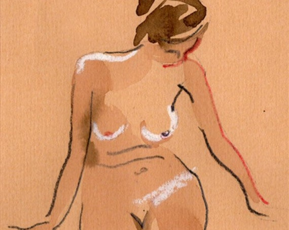 Watercolor graphite painting of MINI NUDE 67- original  by Gretchen Kelly