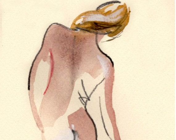 Watercolor graphite painting of MINI NUDE 71- original  by Gretchen Kelly