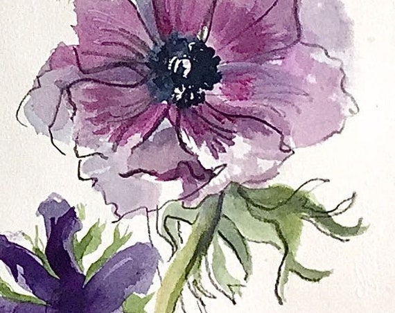 Original floral watercolor painting -Purple Vertical arrangement -Anemones