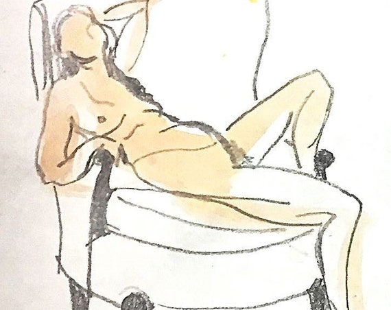 Painting of Nude 1564- Original watercolor painting by Gretchen Kelly