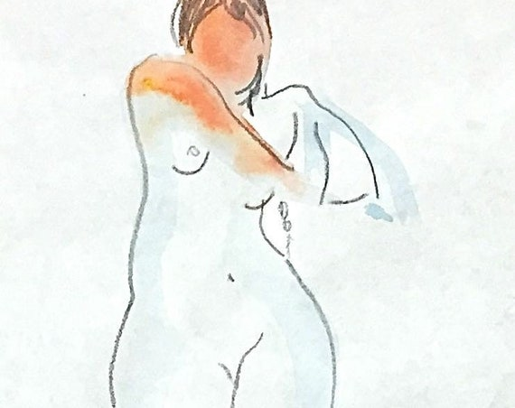 Painting of Nude 1561- Original watercolor sketch painting by Gretchen Kelly