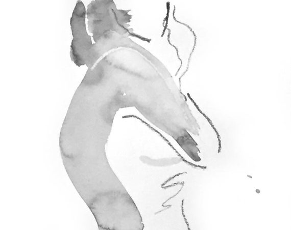 Nude painting of One minute pose 125.5 - Original nude painting by Gretchen Kelly