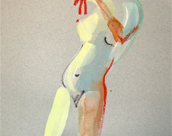 Nude painting- One Minute Pose 76.4 -painted sketch by Gretchen Kelly