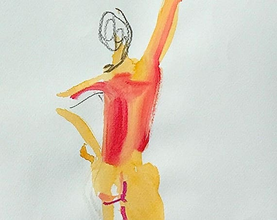 Nude painting of One minute pose 106.3 - Original nude painting by Gretchen Kelly