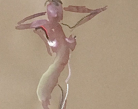 Nude painting of One minute pose 113.5 nude art, original, gesture sketch by Gretchen Kelly