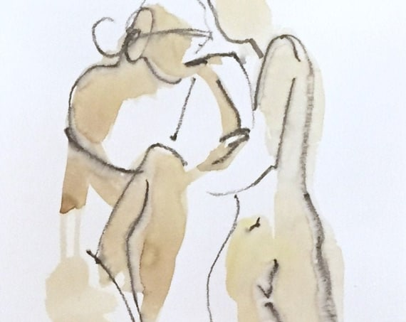 Nude painting of One minute pose 124.3 - Original watercolor painting by Gretchen Kelly, wall art, home decor