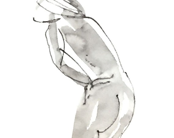 Nude painting of One minute pose 114.9 - Original watercolor painting by Gretchen Kelly
