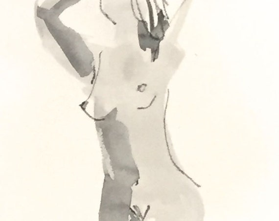 Nude painting of One minute pose 114.7 nude art, original, gesture sketch by Gretchen Kelly