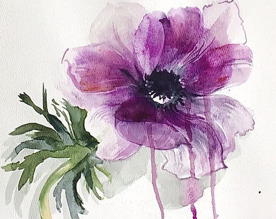 Original floral watercolor painting -Purple Single Stem Anemone
