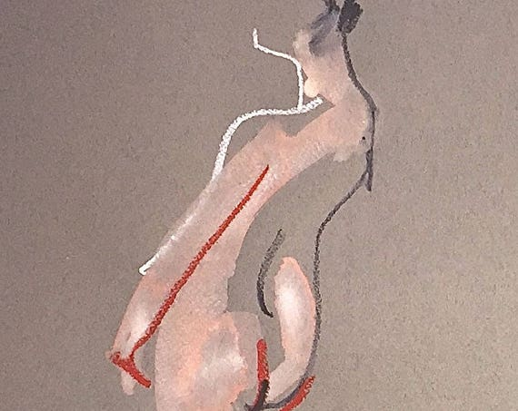 Nude painting of One minute pose 110.7 - Original watercolor painting by Gretchen Kelly