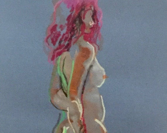 Nude painting- Original watercolor painting of Nude #1649 by Gretchen Kelly