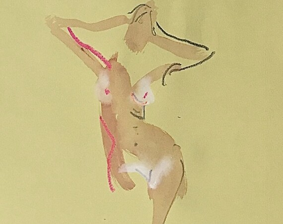 Nude painting of One minute pose 115.1 - Original watercolor painting by Gretchen Kelly, wall art, home decor
