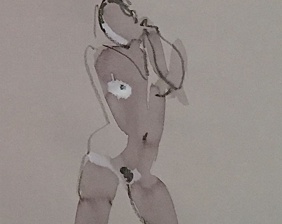 Nude painting of One minute pose 114.4 - Original watercolor painting by Gretchen Kelly