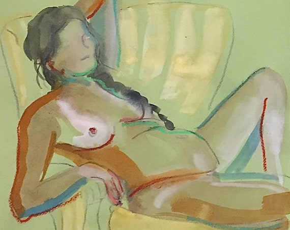 Nude painting- Original watercolor painting of Nude #1569 by Gretchen Kelly