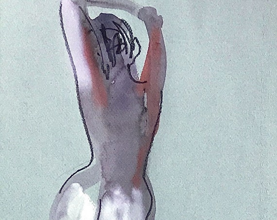 Nude painting of One minute pose 115.6 - Original watercolor painting by Gretchen Kelly, wall art, home decor