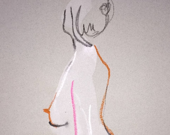 Nude painting of One minute pose 107.3 Original painting by Gretchen Kelly