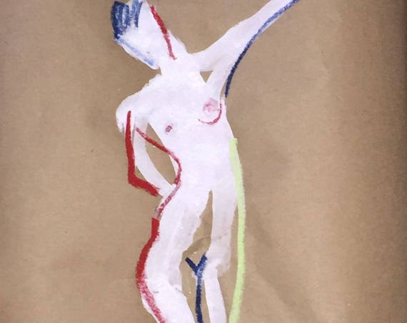 Nude painting of One minute pose 101.2- Original painting by Gretchen Kelly