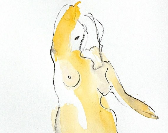 Nude painting of One minute pose 122.4 - Original watercolor painting by Gretchen Kelly, wall art, home decor