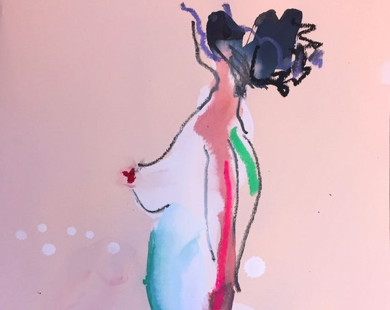 Nude painting- One minute pose 95.2 nude art, original, gesture sketch by Gretchen Kelly