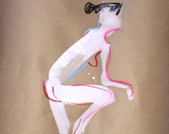 Nude painting of One minute pose 101.4- Original painting by Gretchen Kelly