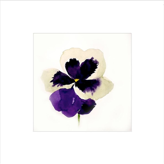 Watercolor flower painting-Purple + White Pansy- original by Gretchen Kelly