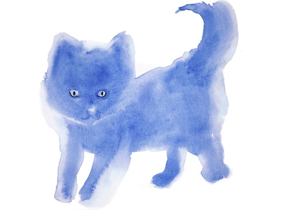 Giclee print of Blue Kittie from original watercolor painting