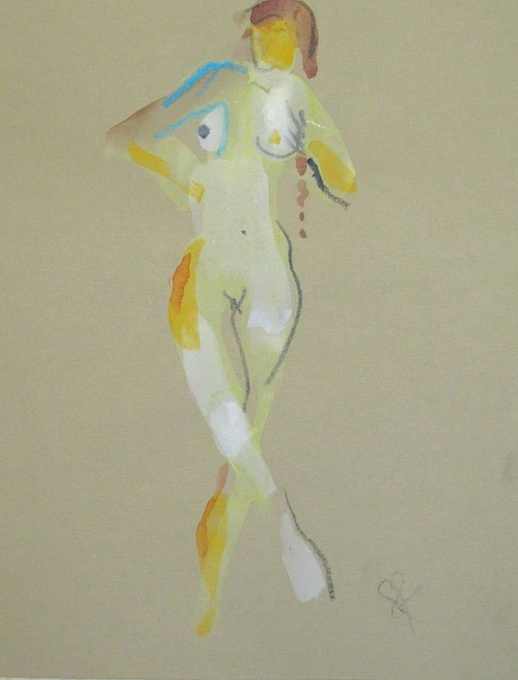 Nude painting of One minute pose 73.1 Original painting by Gretchen Kelly