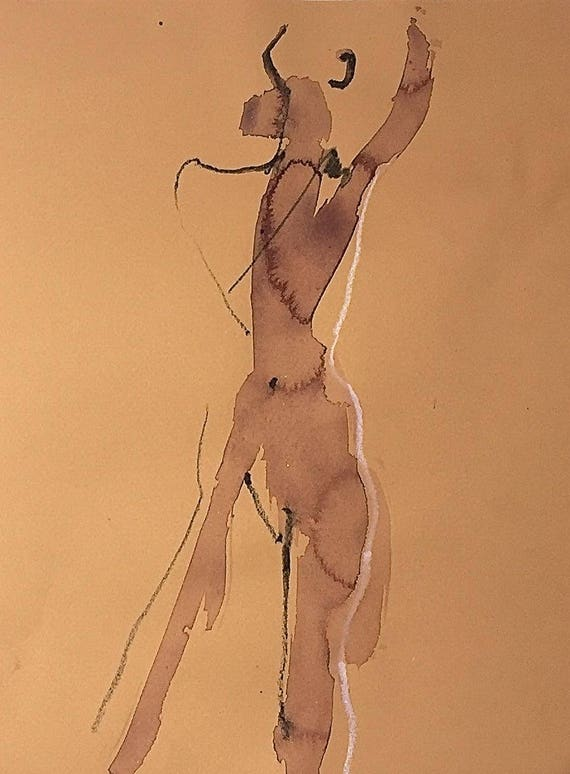 Nude painting of One minute pose 110.1 - Original watercolor painting by Gretchen Kelly