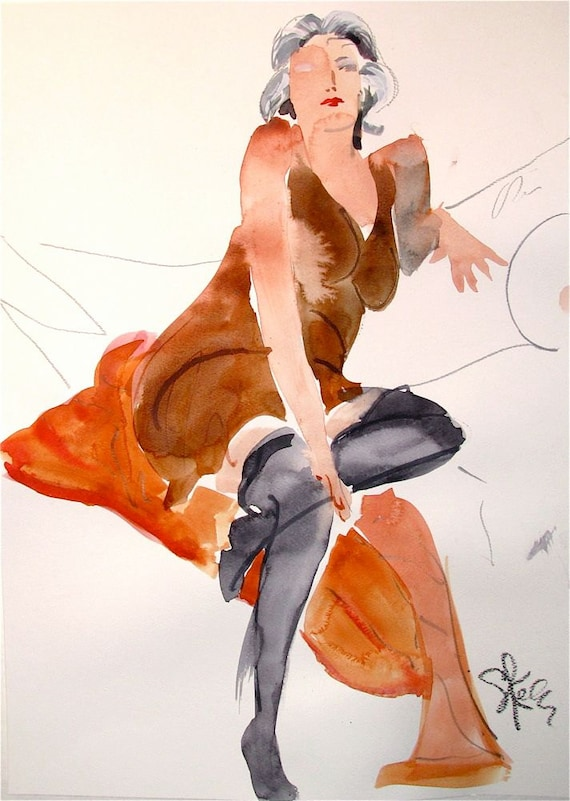Original watercolor nude painting Boudoir Session 6.8 by Gretchen Kelly